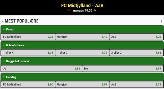 Optakt, odds og spilforslag til FC Midtjylland-AaB