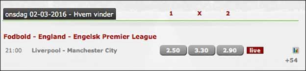 Onsdag aften står den på prestigeopgør i Premie League: Liverpool-Manchester City mødes på Anfield Road