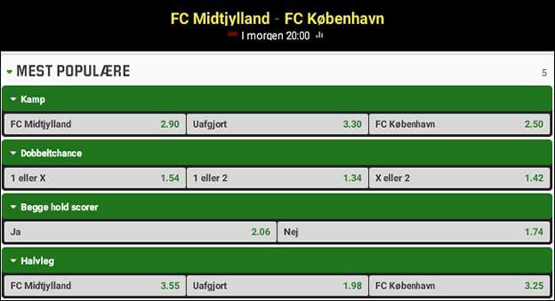 Få boostede odds på både FCM og FCK. Du får lige nu odds 4.50 på de to mesterskabsaspiranter.