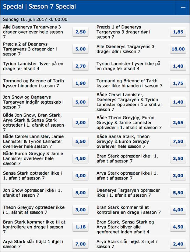 Masser af Game of Thrones specials odds hos Danske Spil