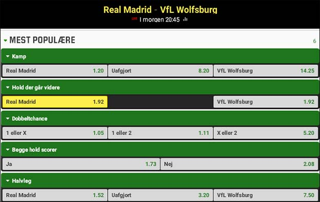 Få boostede odds på at Real Madrid går videre imod Wolfsburg