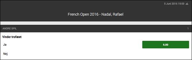 Få odds 6.00 på Rafael Nadal i French Open