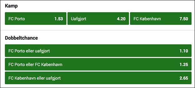Få et freebet til Champions League-kampen Porto-FCK hos Unibet
