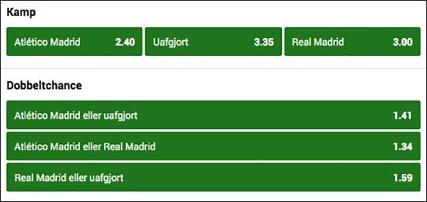 Spil på Atletico-Real Madrid og optjen et risikofrit 100 kr. livespil
