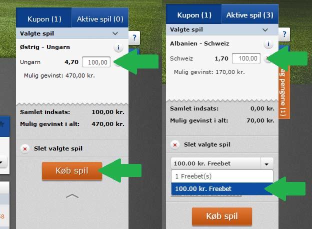 Få 50 kr. live freebet fra Oddset / Danske Spil