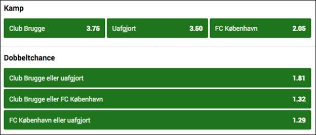 Odds på Club Brugge - FCK fra Unibet