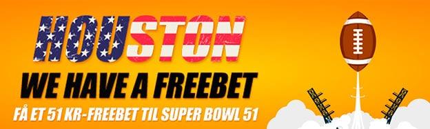 Få et 51 kr. freebet til Super Bowl 51 kr.