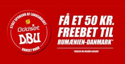 Få et 50 kr. freebet uden gennemspilskrav til Rumænien-Danmark i VM-kvalen