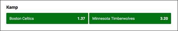 Odds på Boston Celtics - Minnesota Timberwolves hos Unibet