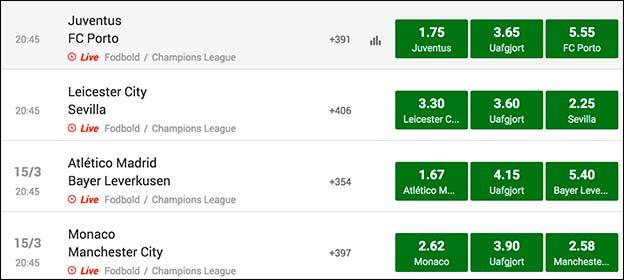 Spil på en af følgende Champions League-kampe og få et 100 kr. freebet til Europa League