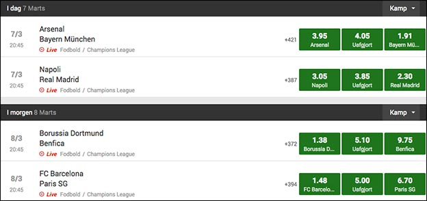 Champions League odds fra Unibet