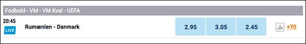 Odds fra NordicBet på VM-kval-kampen Rumænien-Danmark