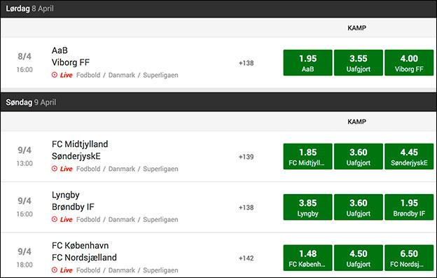 Spil live hos Unibet og få et 50 kr. freebet. Du kan naturligvis spille live på disse Superliga-kampe.
