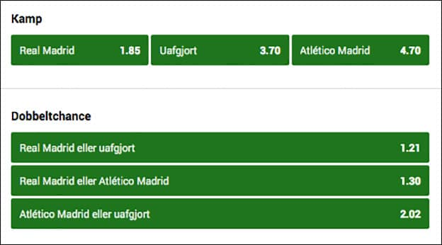 Real Madrid-Atletico Madrid odds fra Unibet