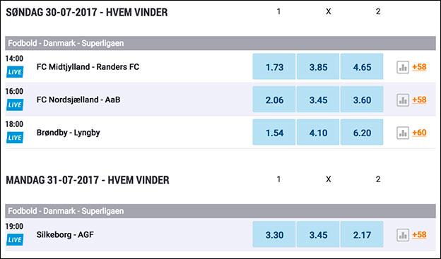 Spil på Superligaen hos NordicBet. Se odds her