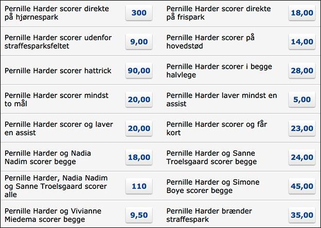 Masser af Pernille Harder odds specials hos Danske Spil