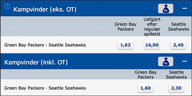 Green Bay Packers - Seattle Seahawks odds fra Danske Spil