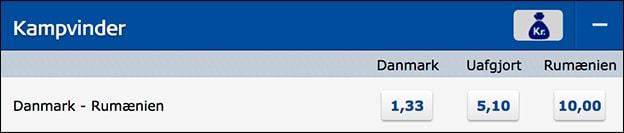Se oddsene på Danmark-Rumænien hos Danske Spil her