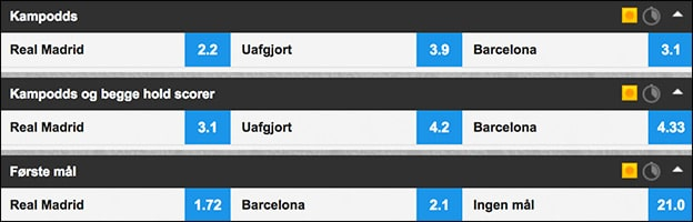 Odds på Real Madrid-Barcelona hos Betfair Sportsbook