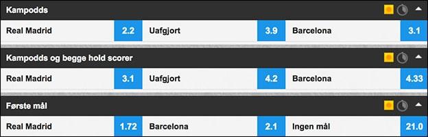 Odds på Real Madrid-Barcelona hos Betfair Sportsbook