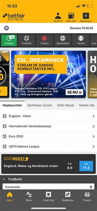 Betfair Sportsbook har en gennemført app