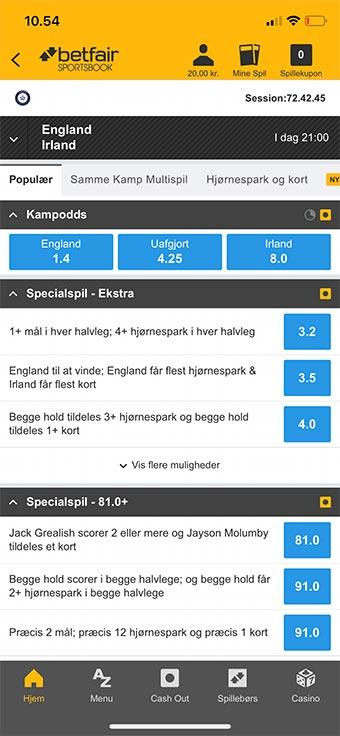 Betfair Sportsbook app'en fungerer fremragende