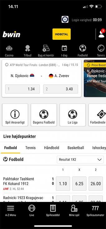 Bwin tilbyder en af markedets fedeste apps til mobilen