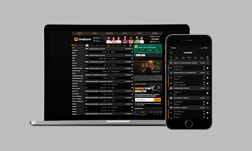 Du kan tilgå LiveScore.com på din favorit-device